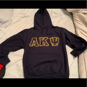 Alpha kappa psi dark blue and gold hoodie size S